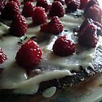 recette gâteau chocolat blanc framboises