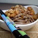 recette ** Nouilles Soba aux pétoncles et courgettes marinées sur un air de yakitori au citron confit **