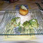 recette chou romanesco avec sont petit pané de chèvre et sont riz