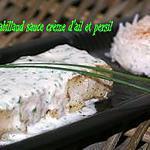 recette FILET DE CABILLAUD SAUCE CRÈME D'AIL ET PERSIL