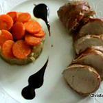 filet mignon de porc au jambon et choux au cumin