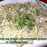 recette Torsade au poulet accompagné d'asperges et champignons