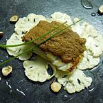 recette Cabillaud rôti au beurre salé, émincé de chou-fleur à l'huile de noisette et pâte au spéculoos