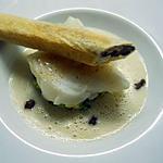 recette Dos de cabillaud, écrasé de brocoli, jus au wasabi et feuilleté aux cèpes