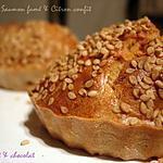 recette **Petits Dômes ( cake) moelleux au saumon fumé et citron confit.... où le sésame est Roi **