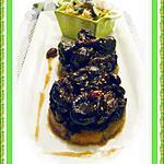 recette Millefeuilles de boudin pommes et pruneaux et sa timbale de riz aux courgettes
