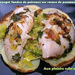 recette FILETS DE ROUGET, FONDUE DE POIREAUX SUR ROSACE DE POMMES DE TERRE