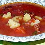 recette Soupe au chorizo,tomates et poivrons rouge