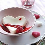 recette Panacotta au coeur d'amour framboise