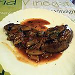 recette Foie de boeuf, sauce tomate, oignons,champignons