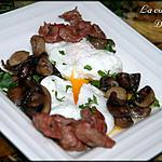 recette Oeufs pochés sur couche de champignons et gésiers confits
