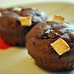 recette Muffins fondants au chocolat noir et pépites de chocolat blanc (sans oeufs)