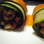 recette Cannellonis de courgettes aux olives, chèvre et tomates séchées