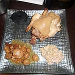 recette Repas du reveillon de noel coquelet farci au marron sauce au foie gras & ses pommes de terre sauter champignon et flageolet vin blanc