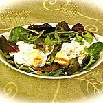 recette SALADE DE MESCLUN A L'OEUF CASSE.