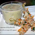 recette Brochettes marines à la plancha et sa soupe de coques et de praires