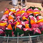 recette Brochettes porc, mandarines, oignons rouges.