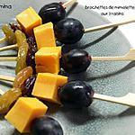 recette BROCHETTES DE MIMOLETTE AUX TROIS RAISINS