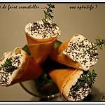 recette ** Pour  vos apéritifs : Petits Cornets croustillants farcis au saumon et chèvre au miel citronnée ! a décliner pour les fêtes**