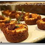 recette ** Pour les fêtes: mini Bouchées soufflées au foie gras en crôute de spéculoos et figue confite au vin et miel**