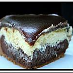 recette ** Cheesecake au chocolat noir, au chocolat blanc et son miroir de caramel au beurre & fleur de sel vanillée**