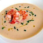 recette Soupe de pois chiches et sa garniture de crevettes