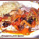 recette sauté de canard, champignons, petits légumes