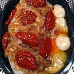 recette Papillote de dos de cabillaud aux saint-jacques, ses tomates séchées et ses oignons confits.