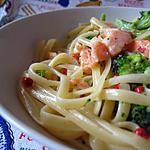 recette Linguine al salmone e broccoli