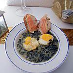 recette Epinard a la creme et oeufs durs, tartine saumon