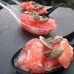 cuillères apéritives saumon-pamplemousse-sésame
