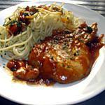 recette Cotes de Porc à la sauce tomates  et spaghettis.