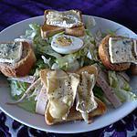 recette Salade jambon/  toasts fromage fondu