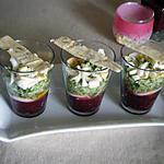 recette VERRINES PRINTANIERES avec buchettes de pain aux olives vertes