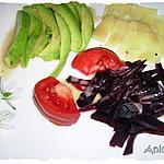 recette Salade d'avocat, betterave et emmental, vinaigrette à la vanille