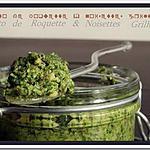 recette ** Pesto de roquette , noisettes grillées, parmesan présenté au coeur d'un feuillete au chèvre avec une pointe de miel**