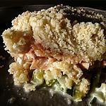 recette Crumble aux 2 saumons courgettes , poireaux