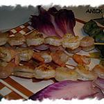 recette Brochettes de crevettes et artichauts à l'huile de truffe - au grill ou à la  plancha -
