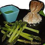 recette Aumonières Brousse & Menthe, Asperges & Emulsion de roquette