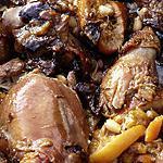 recette Poulet acidulé à l'orange , aux pruneaux et pignons