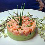 recette tartare de saumon frais sur son lit d'avocat