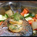 """recette ** Dorade rôtie au four aux légumes, citron confit et épice """" songe de neptune **"""