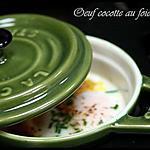 """recette ** Oeuf """" cocotte """" en mini-cocotte au foie gras : en entrée ou en plat avec une purée de vitelotte !**"""