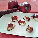 recette Tapas espagnole 'canellonnis de poivrons farci au chevre frais et chorizo '