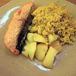 recette Couscous au ras-el-hanout, poire et saumon