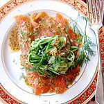 recette Spaghettis de concombre, saumon fumé, vinaigrette au sirop d'érable