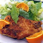recette Escalope de dinde panée à la sauge et à l'orange.