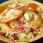 recette Crevettes flambées à la vodka, riz sale au chou-fleur et au curcuma