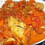 recette Poulet à la tomate, à la crème et au vin blanc