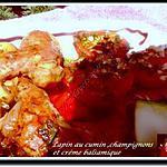 recette Lapin au cumin, champignons et crème balsamique